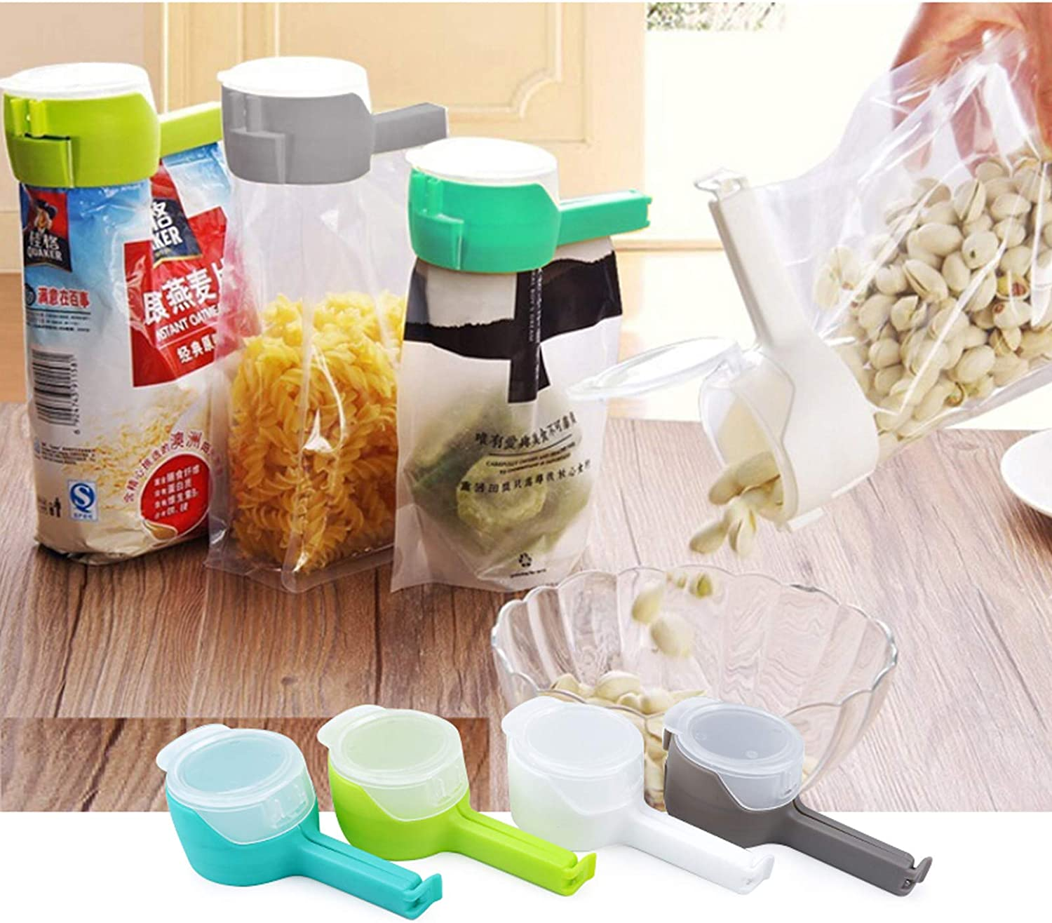 4pcs Food bag clipswith Pour Spouts, Great Clips Bags for Kitchen, Suitable for Small Particle Food, Liquid,Flour and Baby Food Storage Organizer