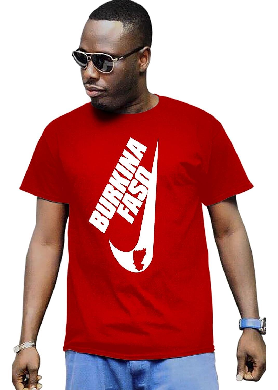 Cali Dreamers Men's I love Burkina Faso flag map Africa map t-shirt red
