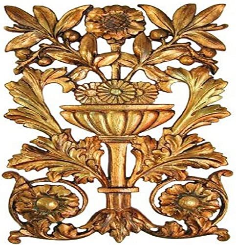 Hickory Manor House Openwork Floral Carving Decor, Antique Gold