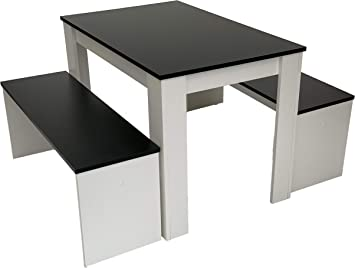 Möbel SD Table de Salle à Manger Groupe Noir/Blanc: Amazon ...