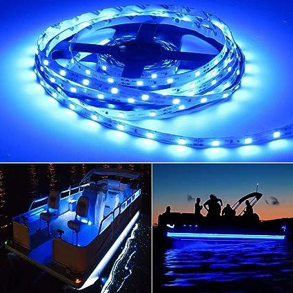 BLUE FLEXIBLE LED LIGHTS STICK ON BOAT COURTESY LIGHTS CHOOSE YOUR LENGTH