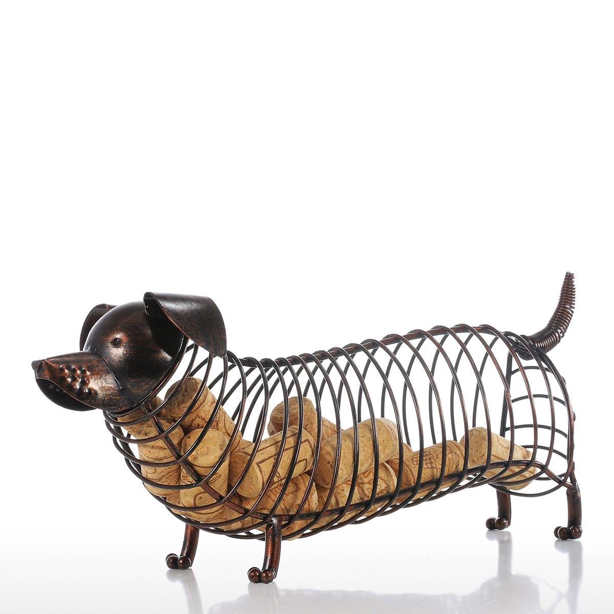 ARISLUX Pearl Rivet - Metal Animal Figurines Dachshund Wine Cork Container Modern Artificial Iron Craft Home Decoration Accessories Gift