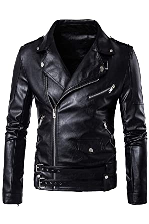 1fe00416ff2 HHGKED Mens Faux Leather Jacket Premium Stand Collar Zipper Locomotive Coat  with Pocket at Amazon Men s Clothing store