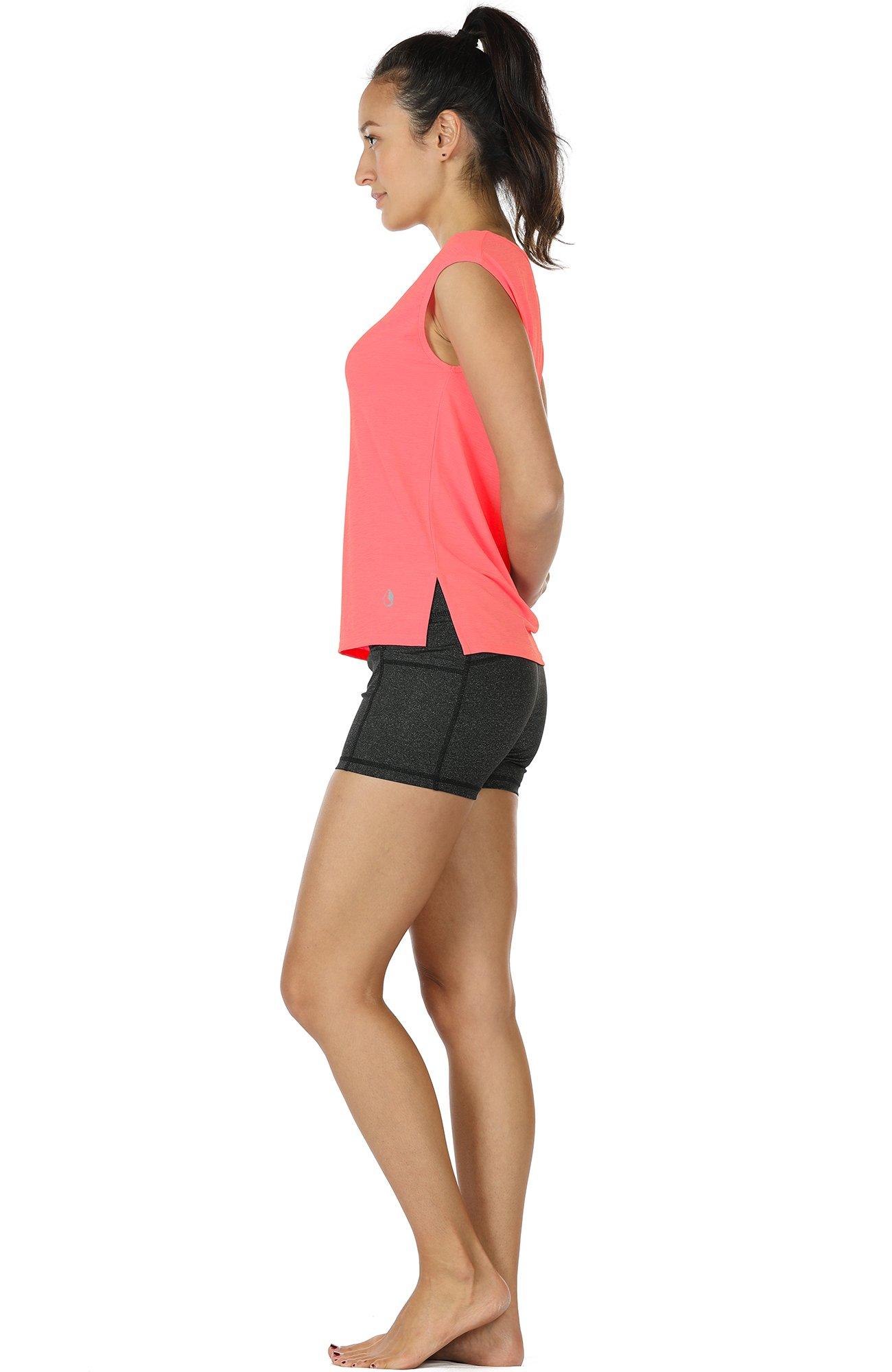 icyZone Yoga Tops Activewear Sleeveless Workout Running Shirts Flowy Tank Tops for Women (M, Mandarin Red)