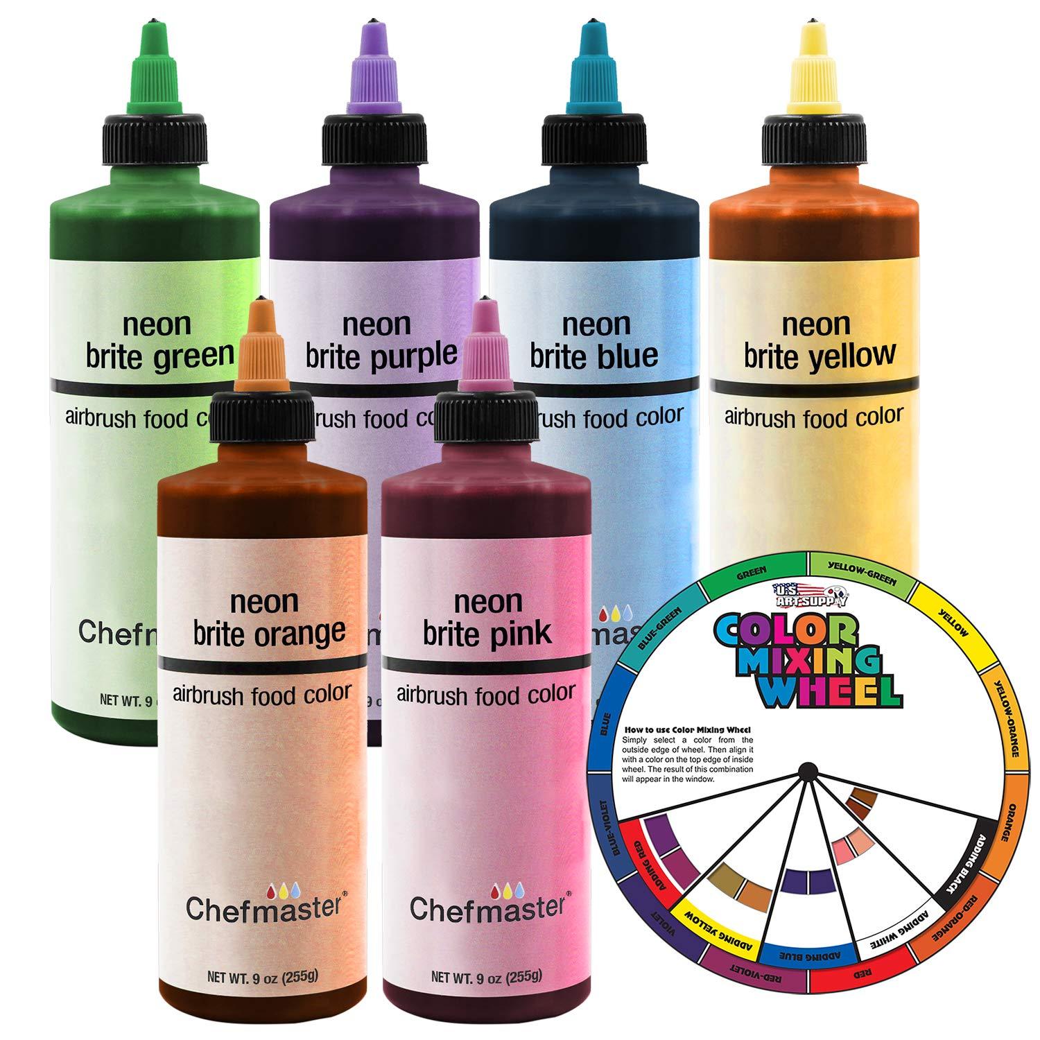 Chefmaster by U.S. Cake Supply 9-Ounce Neon Airbrush Cake Food Colors 6 Bottle Kit with Color Mixing Wheel by U.S. Cake Supply (Image #1)