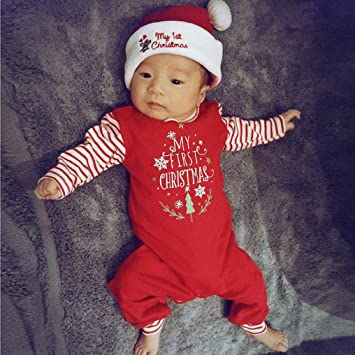 New Christmas Newborn Baby Girls Boys Rompers Jumpsuit Set Outfit Clothes Letter