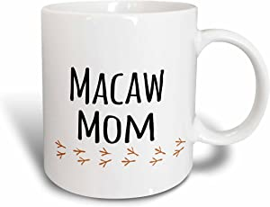 3dRose mug_154035_2 Macaw Mom for Bird Lover Pet Owners of Any Color Parrot from Red Yellow Blue Green with Footprints Ceramic Mug, 15-Ounce