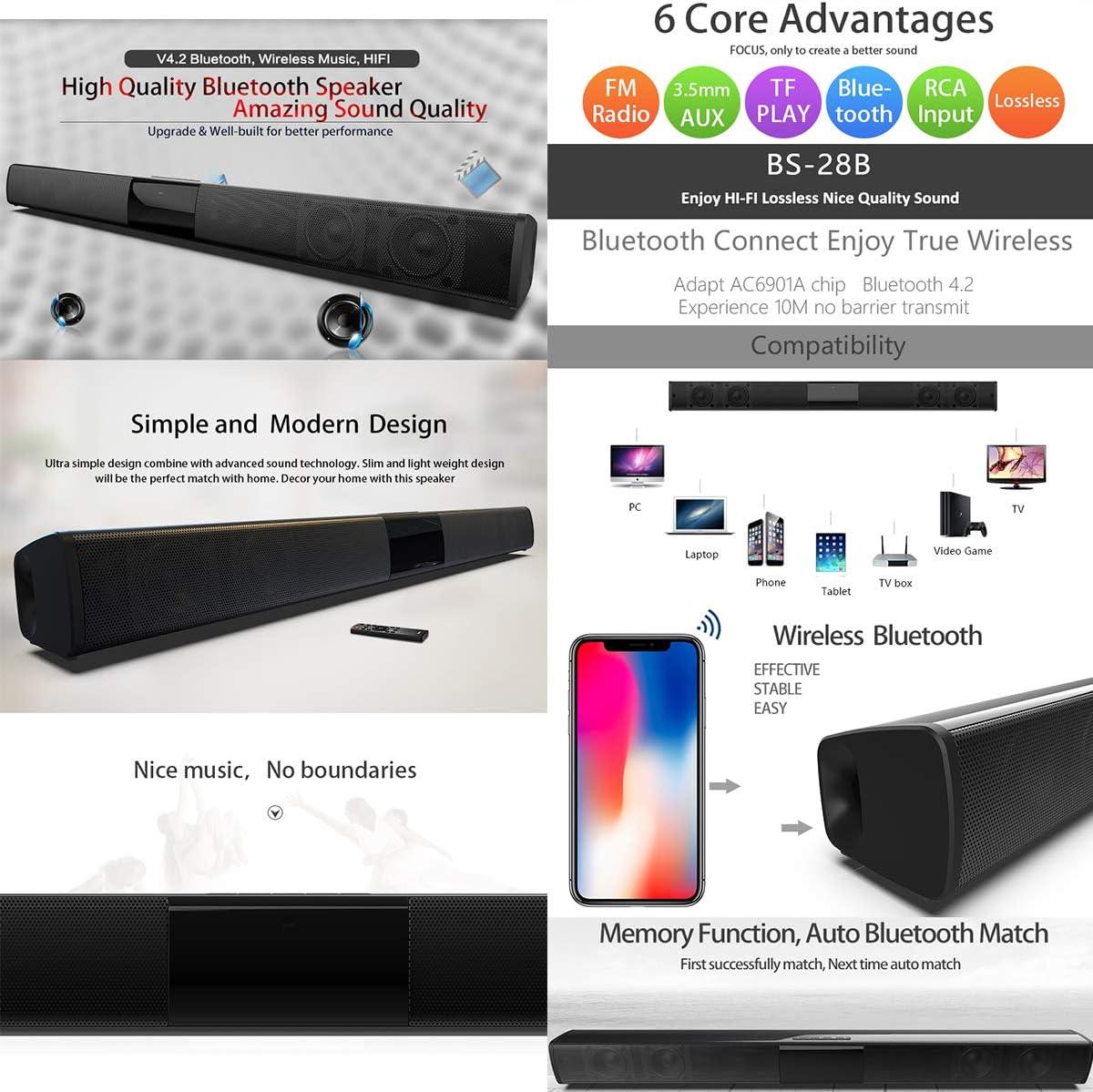 Bluetooth 4.2 Wireless TV Soundbar 4 Speakers Sound Bar Home Theater Subwoofer