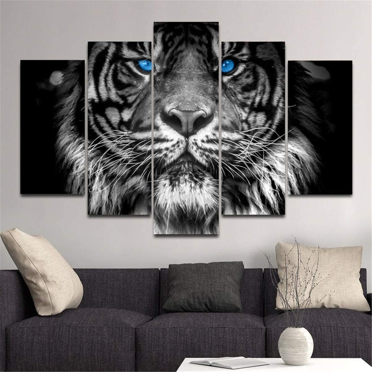 JESC 5 Panels Canvas Wall Art Blue Eyed Tiger Animal Painting Black White Canvas Poster for Wall Decor Men Living Room Tiger Lover Gift Bedroom Stretched and Framed Ready to Hang