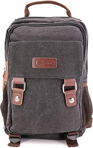 GK Eurosport Canvas 2 in 1 Campus Backpack Right or Left Sling Travel Bag B7VE-BLACK