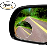 Apriller Upgrade Round-Shape Blind Spot Mirrors,Frameless HD Glass Convex Wide Angle 360 Rotatable Adjustable Stick-On RearView for All Car SUV Trucks Motorcycle-2 Pack