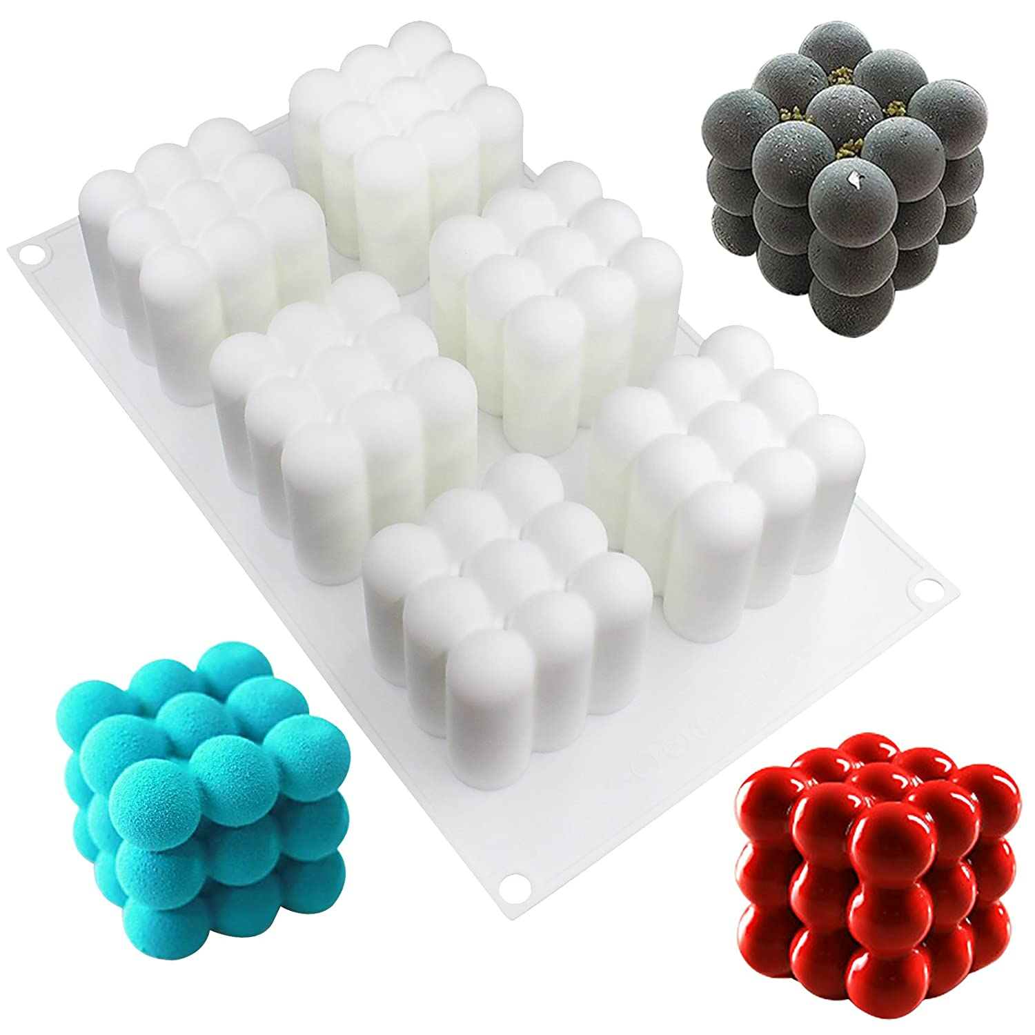 musykrafties 6 Cavities Magic Cubes Mousse Cake Silicone Mould Tray per Cavity 2.4x2.4x2.4inch