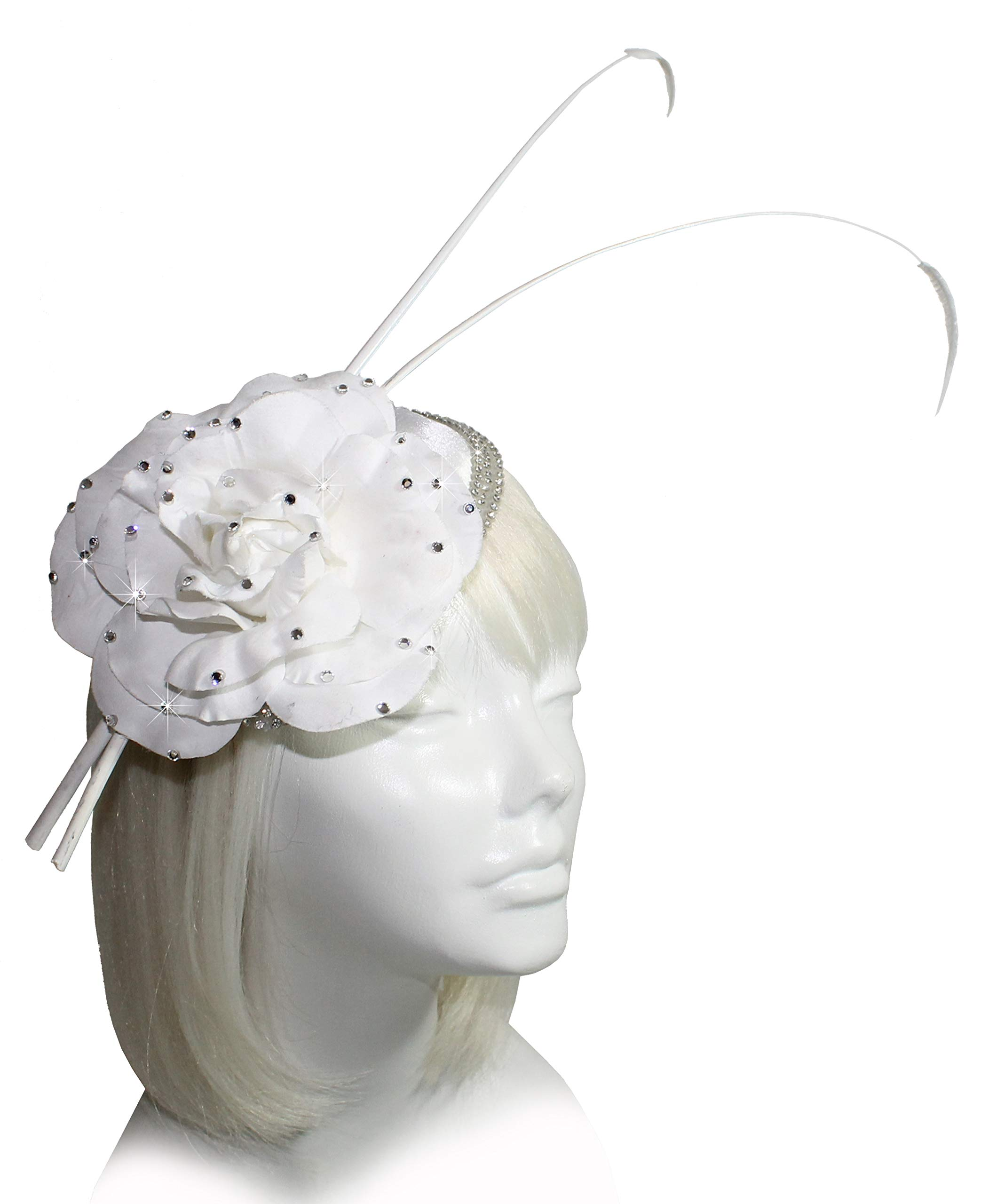 Mr. Song Millinery All-Season Kentucky Derby Sinamary Petite Profile Dish Fascinator - AF92 White