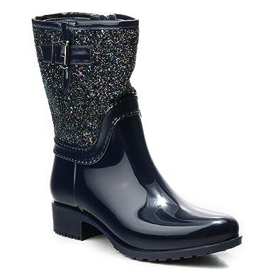 HERIXO Damen Schuhe Stiefeletten Stiefel Regenstiefel Gummistiefel Glitzer  Glanz Glänzende Lack Glitter Schlupfstiefel  Amazon.de  Schuhe   Handtaschen d3ff9e9712