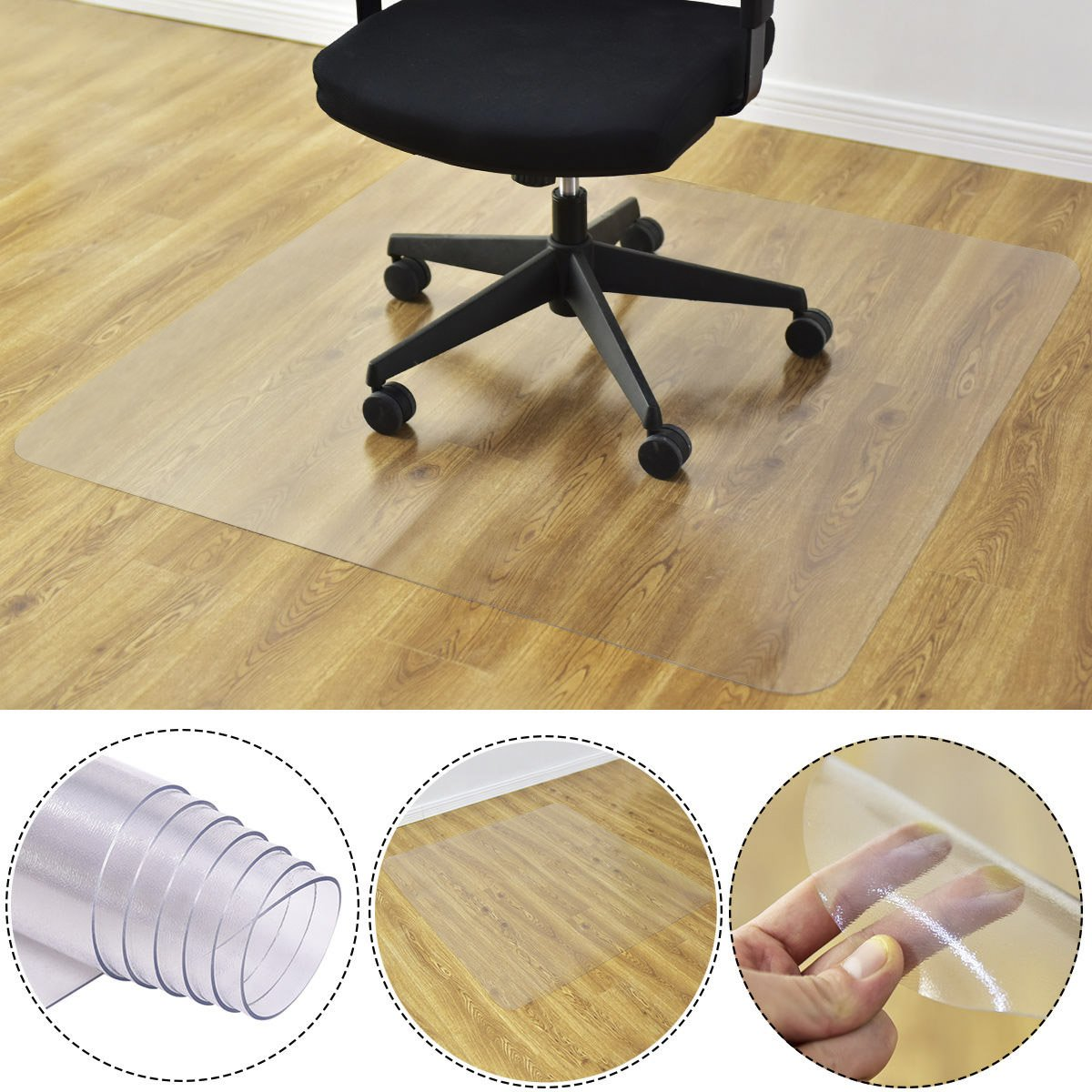 Goplus PVC Chair Mat for Hardwood Floor Clear Multi-Purpose Floor Protector for Office and Home Anti-Slip Floor Protective Mats (47'' x 47'') by Goplus (Image #2)