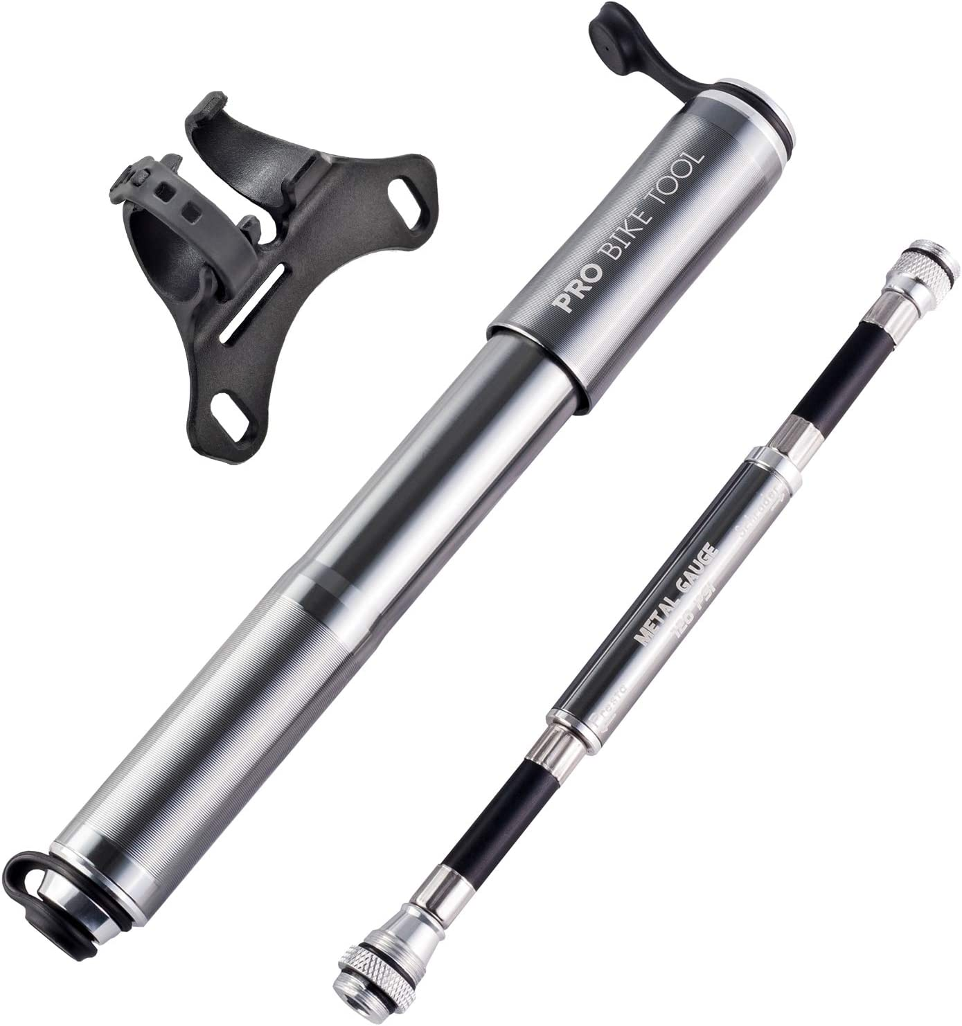 Pro Bike Tool Mini Bike Pump with Gauge, Presta and Schrader Valve