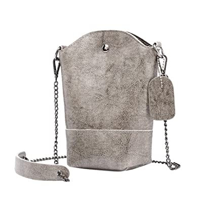 Vintage Women Pure Color Leather Crossbody Bag Shoulder Bag Phone Bag Bucket womens handbags totes shoulder
