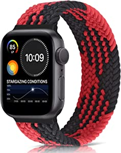 Unnite Braided Stretchy Solo Loop Band Compatible with Apple Watch 42mm 44mm, Sport Straps Nylon Woven Elastic Watch Bands Compatible for iWatch Series 6/5/4/3/2/1/SE(Red Black Grid, 42mm/44mm:#8)