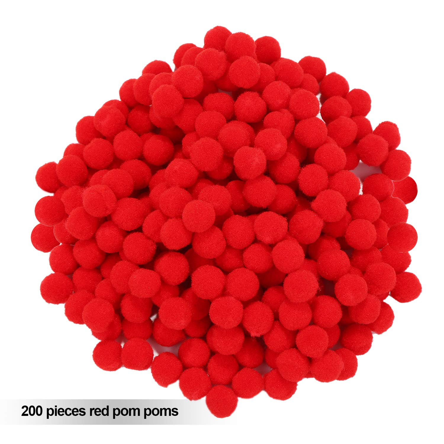 B-Creative Red Pom Poms for Craft Reindeer Sweet Cone 10MM // PACK OF 50