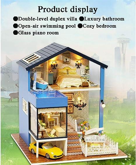 GJQDDP Casa De Muñecas DIY, Cabina DIY Casa Hecha A Mano De ...