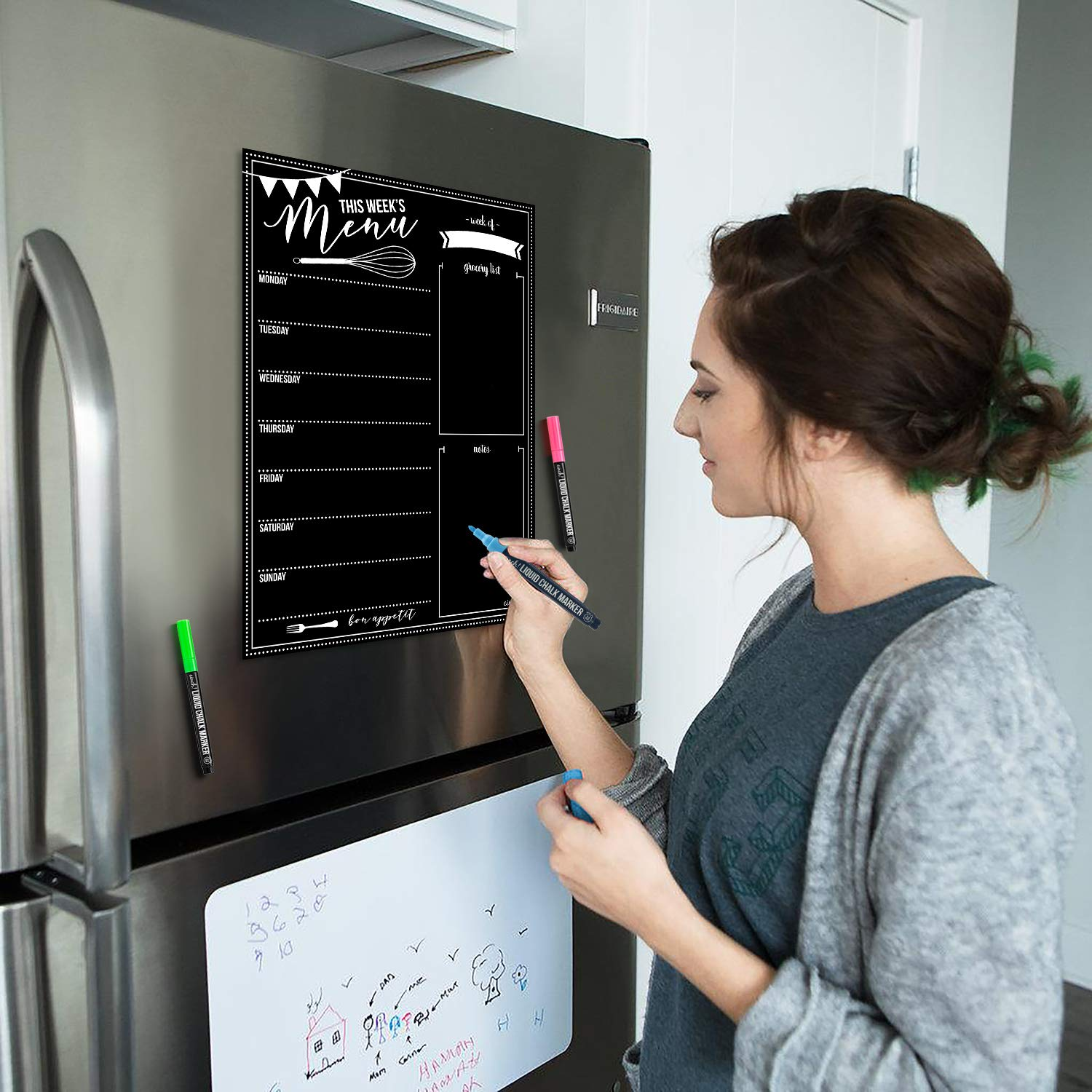 Magnetic Dry Erase Menu Board for Fridge: with Bright Neon Chalk Markers - 16x12'' - Weekly Meal Planner Blackboard and Grocery List Notepad for Kitchen Refrigerator - Whiteboard Chalkboard Magnet by cinch! (Image #1)