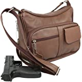 Genuine Leather Locking Concealment Purse CCW Concealed Carry Gun Bag Handbag