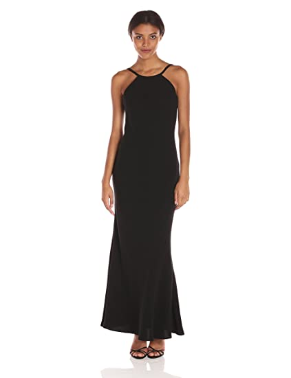 Amazoncom Calvin Klein Womens Halter Neck Crepe Gown Clothing