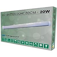 Lampara Luminaria Led 60 cm 20w. Color Blanco frio (6500K). Tubo led integrado T8.…