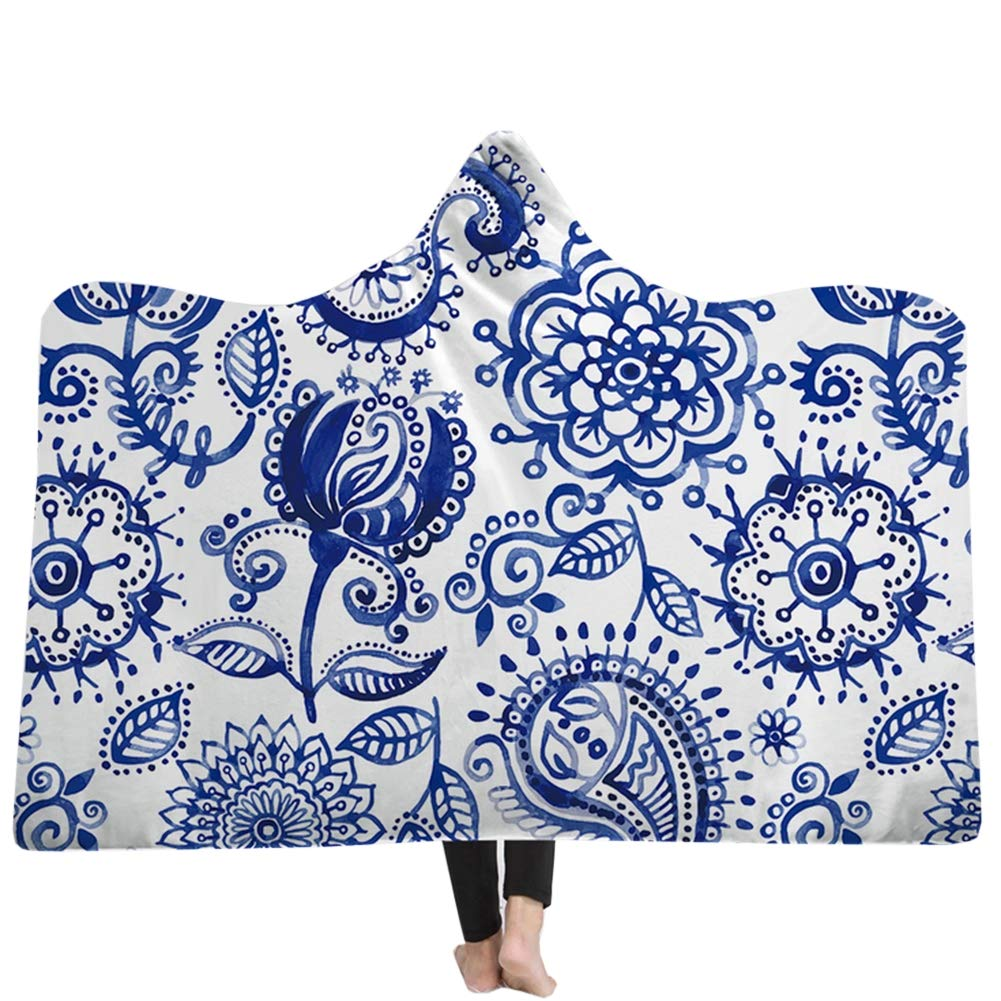 B Hooded Blanket Lazy Personality bluee and White Porcelain Printing Comfy Soft Wearable Blankets Throws Robe for Women and Men,A,150  130CM