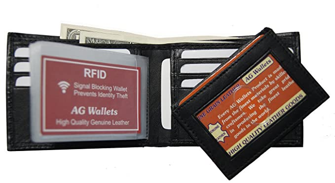 478ab11495de AG Wallets RFID Signal Blocking Genuine Leather Slim Bifold Mens ...