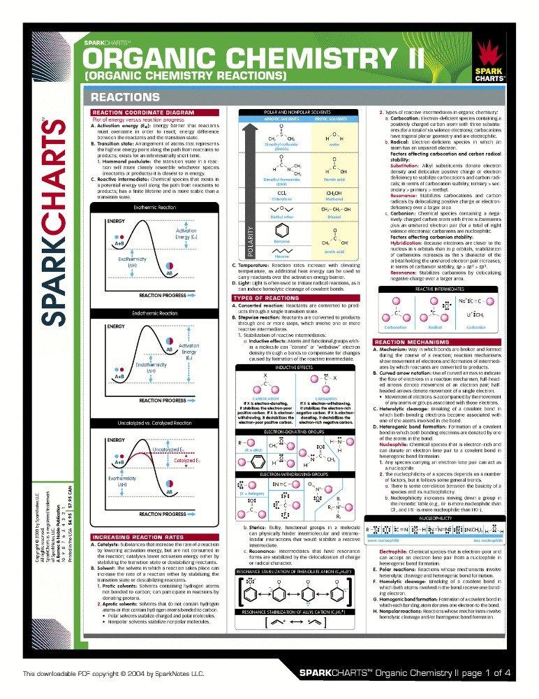 Vinteja charts of - Organic Chemistry II A - A3 Poster Print