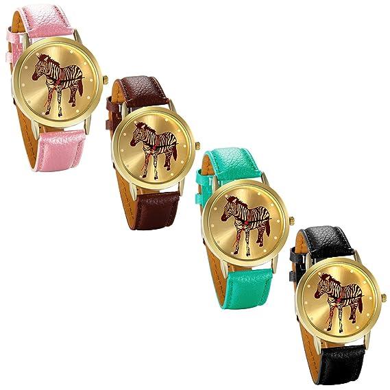 JewelryWe Reloj de Moda para Mujer Chica, Dibujo de Cebra Reloj Dorado Correa de Cuero