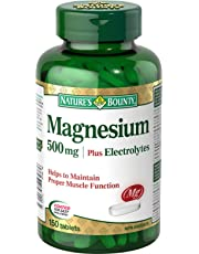 Nature's Bounty Magnesium with Electrolytes Supplement, Helps Maintains Muscle Function, 500mg, 150 Tablets