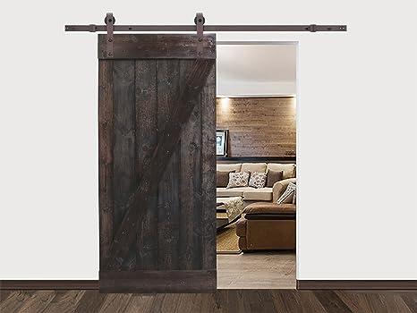 Núcleo sólido nogal oscuro madera interior pintado granero puerta deslizante Hardware pista: Amazon.es: Bricolaje y herramientas