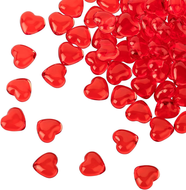 Kleenes Traumhandel - 100 corazones acrílicos rojos con 12 mm de diámetro – piedras decorativas para decoración de mesa de boda y compromiso – Decoración ideal para esparcir
