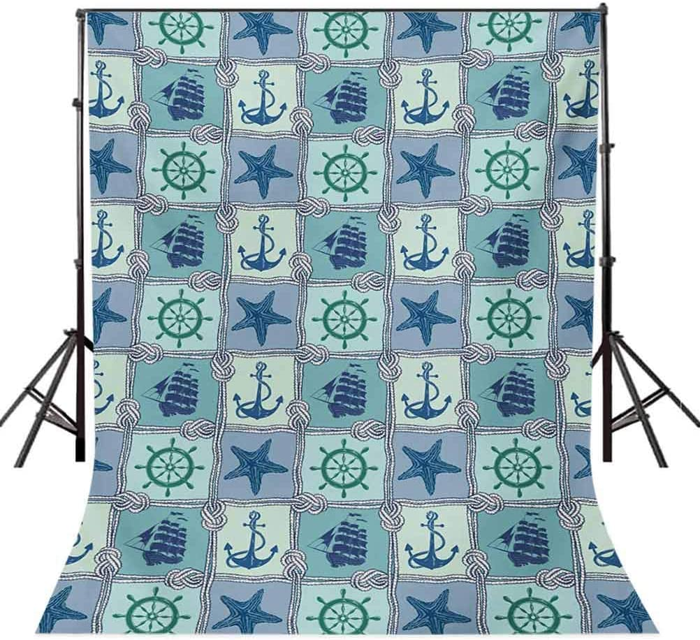 Ship 6x8 FT Photography Backdrop Nautical Themed Artwork with Marine Rope Starfish Wheel Anchor and Ship Sailors Knot Background for Baby Shower Bridal Wedding Studio Photography Pictures Multicolor