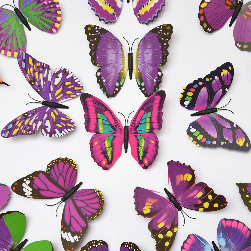 amazon com elecmotive 12 purple 12 blue 3d butterfly stickers amazon com elecmotive 12 purple 12 blue 3d butterfly stickers home decoration diy removable vivid man made lively diy decor wall stickers for wall decor