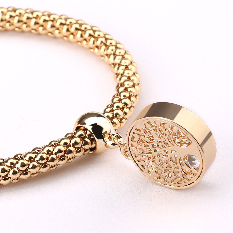 Zircon Stoppers Macrame Bracelet,UHIBROS Multicolor Crystal Unisex Adjustable Fashion Braid Bracelet Beads Braiding Bangle (Tree Charm Bracelet)