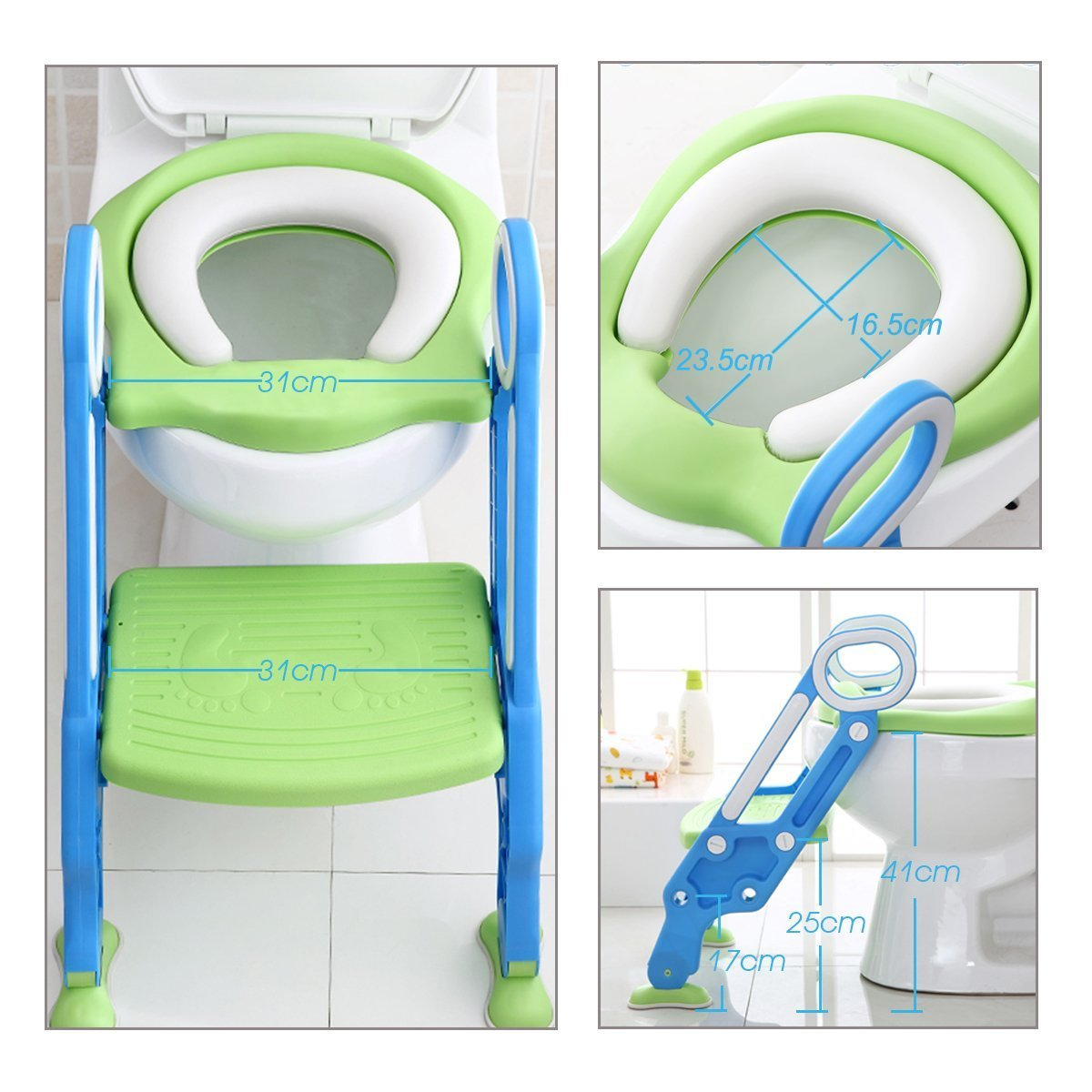 Mangohood Potty Training Toilet Seat with Step Stool Ladder for Boy and Girl Baby Toddler Kid Children's Toilet Training Seat Chair with Soft Padded Seat and Sturdy Non-Slip Wide Step (Blue Green) by Mangohood (Image #6)