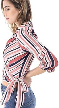 fa1ad0662b5ee6 SALT TREE Women s Stripe Print Open Chest Surplice Cut Tie Front ...