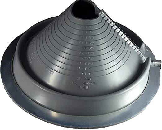 High Temp Round /& Square Base Comes with Free Screws, 1//4 bit, Butyl Puddy Sealing Tape, Pair of Nitrile Coated Gloves #5, Gray - Round Base Dektite Metal Roof Pipe Flashing Boots Kit