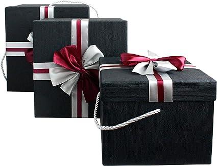Emartbuy Conjunto de 3 Cajas de Regalo Rígidas, Caja Negra Con Tapa Negra y Cinta: Amazon.es: Oficina y papelería