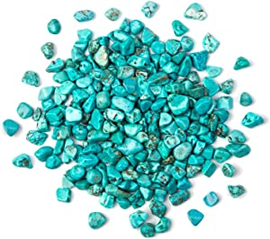 Arswin Turquoise Crushed Stone Bulk Small Tumbled Chips Crystal Healing Reiki for Outdoor Indoor Home Making Decoration, Fish Tank, Vase Fillers, Succulent Pot Decor, 1lb 0.3-0.4