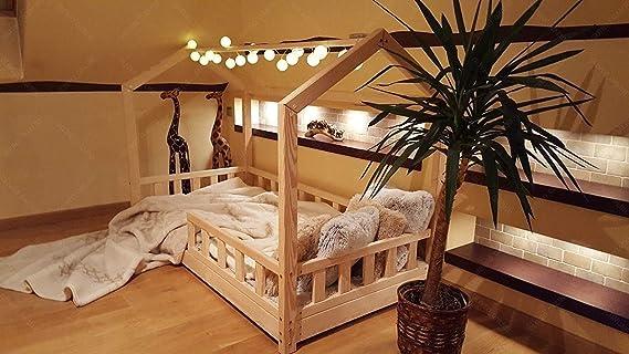 Kinderbett 70x140cm Haus aus Holz Natur Bettenhaus f/ür Kinder Hausbett Kinderzimmer Bett Kiefernholz Holzfarben