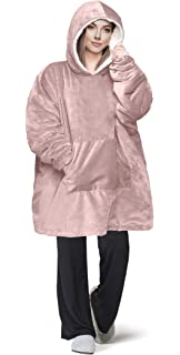 Oversize Teddy Sherpa Cuddly Cosy Sweatshirt Hoodie Double Layer Thermal Giant Blanket with Front Pocket Adults Teens Mens Womens