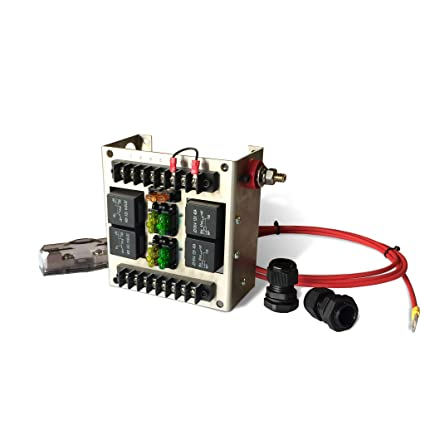 mgi speedware relay panel box and wiring block kit with 12 volt automotive relay switches and led blade fuses (4 relay) Relay Box Cover