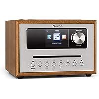 auna Silver Star CD • Cube Radio • WLAN-Radio mit CD-Player • Micro-Anlage • 21cm Breite • UKW-Tuner • Bluetooth • 10 Watt RMS • AUX-In • App-Steuerung • Holzoptik • inkl. Fernbedienung • braun