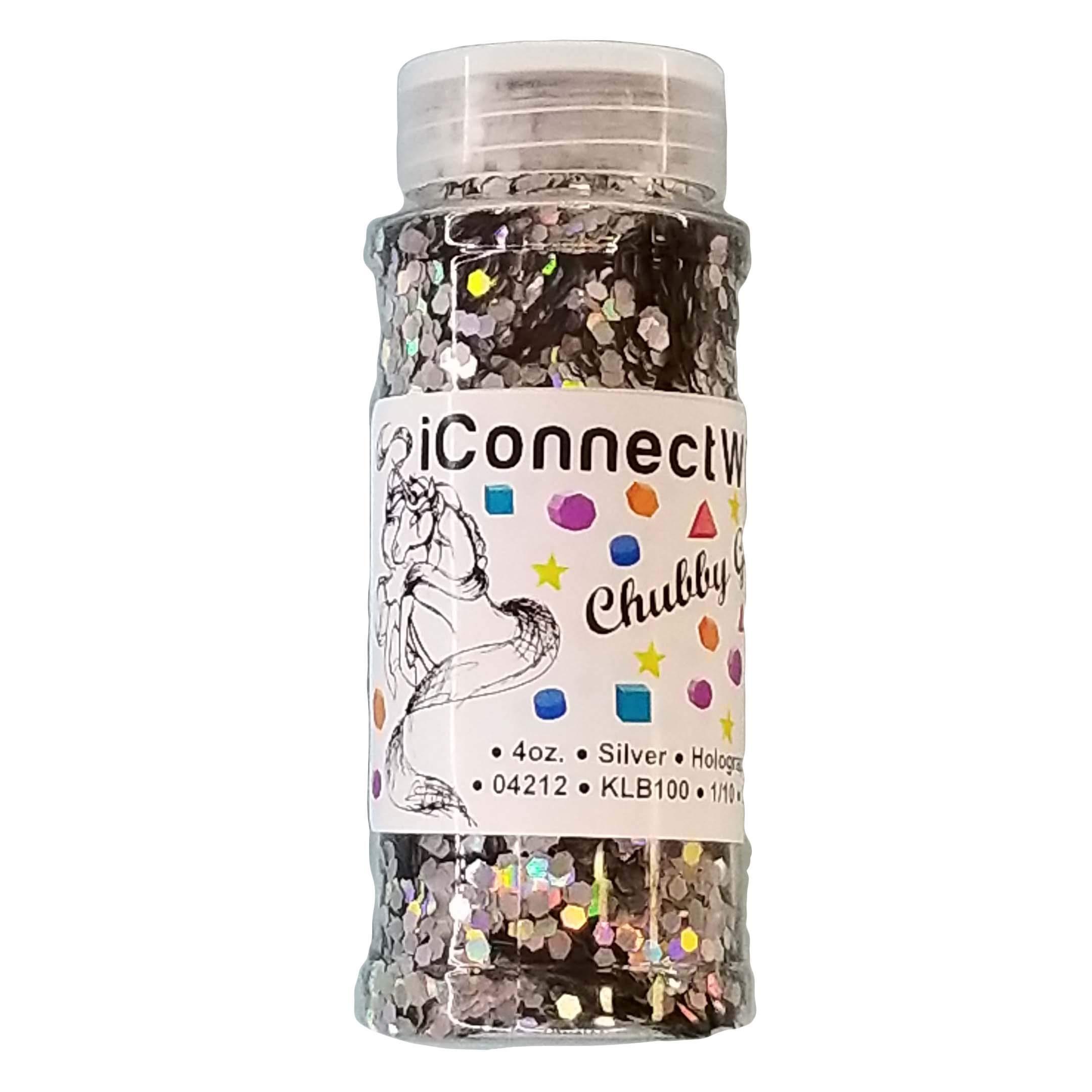 Silver, Chubby Glitter 1/10, 4oz Bottle, Holographic Craft Glitter