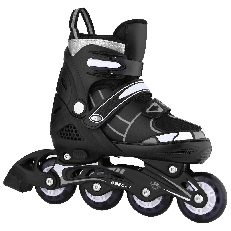 ANCHEER Adjustable Rollerblades for Kids Youth Inline Skates Beginner Black Size 10 11 12 1