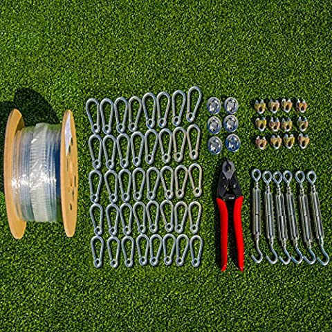 Batting Cage Netting Wire Tension Kit – Everything You'll Need To Easily Hang A Baseball Batting Cage [Net World Sports] (55 ()
